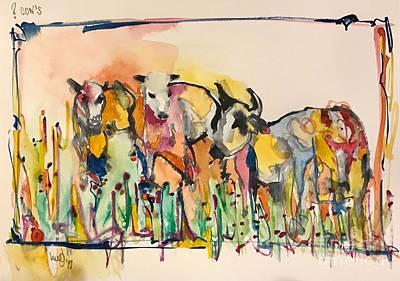 Steer Painting - ?cows  by Glen bleep Garnett