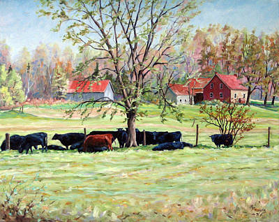 Walter Pranke Painting - Cows Grazing In One Field  by Richard T Pranke