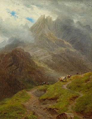 Painting - Cows Grazing On The Schwarzwaldalp Near Roslaui With The Engelhorner In The Background by Francois Diday