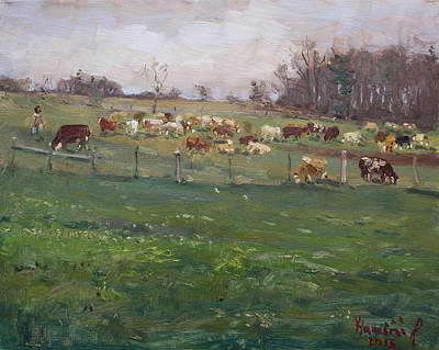 Georgetown Wall Art - Painting - Cows In A Farm, Georgetown  by Ylli Haruni