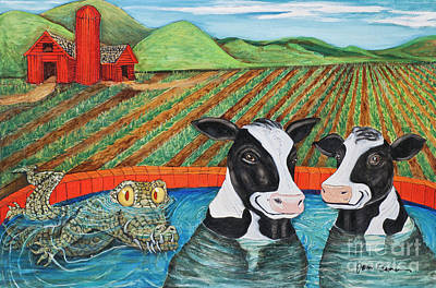 Painting - Cows In A Hot Tub by James Homer Brown