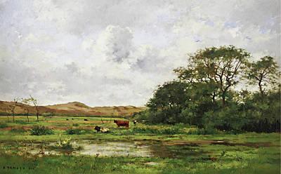 Pierre Emmanuel Eugene Damoye Painting - Cows In A Meadow by Pierre Emmanuel Eugene Damoye