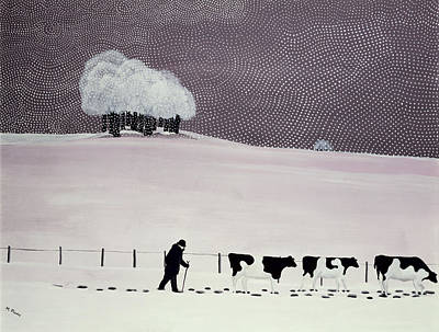 Cows In A Snowstorm Art Print