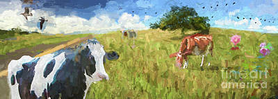Photograph - Cows In Field, Ver 2 by Larry Mulvehill