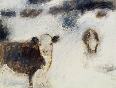 Cows In Snow Art Print by Ruth Sharton
