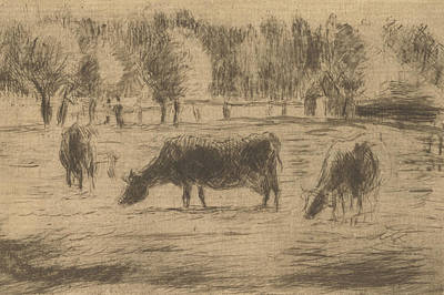 Relief - Cows In The Fields Of Eragny, Near Gisors by Camille Pissarro