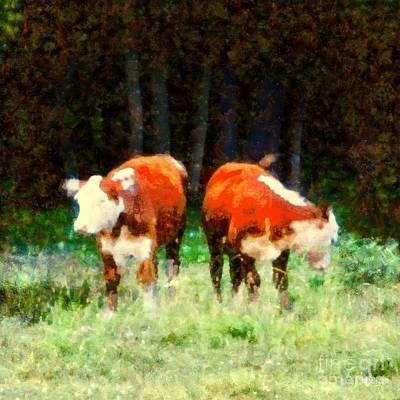 Farm Fields Painting - Cows In The Meadow - Swish Swish by Janine Riley