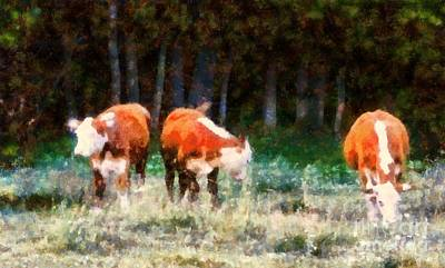 Painting - Cows In The Meadow  - Swish Swish Swish by Janine Riley