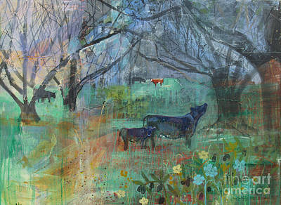 Painting - Cows In The Olive Grove by Robin Maria Pedrero