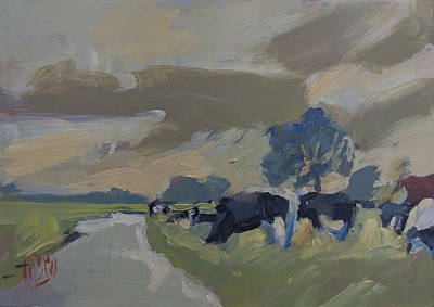 Painting - Cows In The Polder by Nop Briex