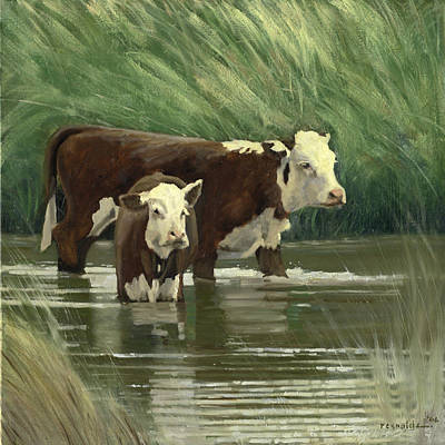 Cows In The Pond Art Print by John Reynolds