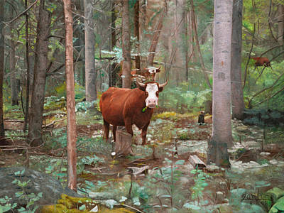 Cows In The Woods Art Print by Joshua Martin