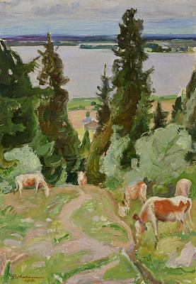Pekka Wall Art - Painting - Cows In Vaisalanmaki by Pekka Halonen