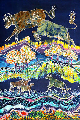 Cows Jumping Over The Moon Print by Carol  Law Conklin