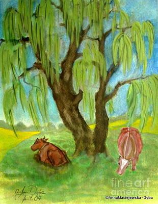 Folkartanna Painting - Cows On Pasture by Anna Folkartanna Maciejewska-Dyba