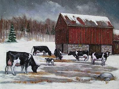 Barns In Snow Pastel - Cows On Snowy Day No. 3 by Joyce Geleynse