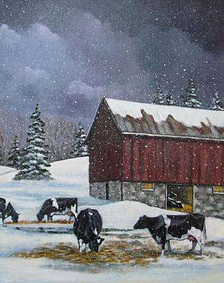 Red Barn In Winter Painting - Cows On Snowy Day No. 4 by Joyce Geleynse