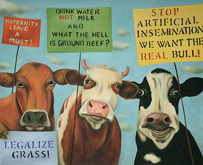 Painting - Cows On Strike by Leah Saulnier The Painting Maniac