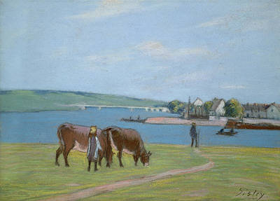 Livestock Pastel - Cows On The Banks Of The Seine At Saint Mammes by Alfred Sisley