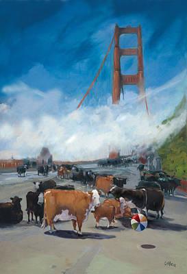 Cows On The Bridge 1 Art Print by Kathryn LeMieux