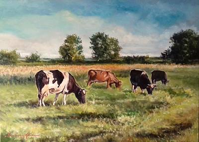 Painting - Cows On The Pasture by Luke Karcz