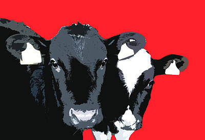 Digital Art - Cows - Red by Mary Castellan