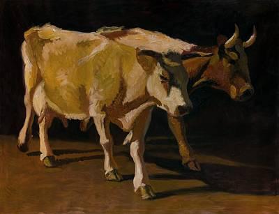 Steer Painting - Cows by Robert Nizamov