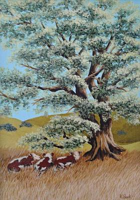 Painting - Cows Under Old Oak by Katherine Young-Beck