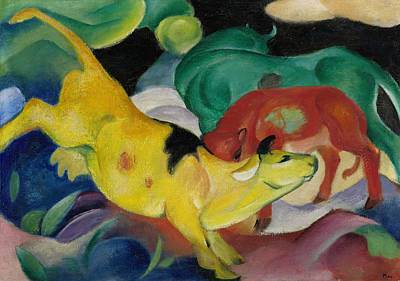 Painting - Cows, Yellow Red-green by Franz Marc