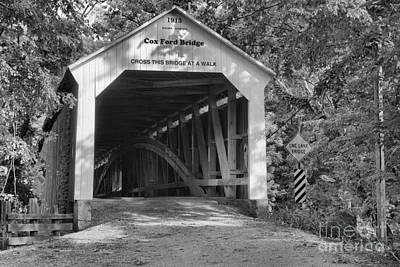 Photograph - Cox Ford Covered Bridge Black And White by Adam Jewell