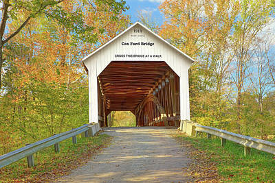 Photograph - Cox Ford Covered Bridge by Harold Rau