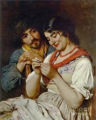 Coy Seamstress 1890 Art Print by Padre Art