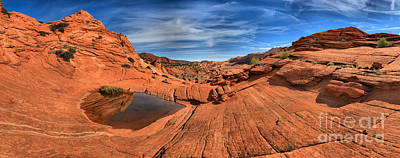 Slickrock Photograph - Coyote Buttes Pool Panorama by Adam Jewell
