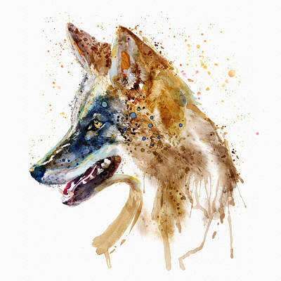 Painted Face Mixed Media - Coyote Head by Marian Voicu