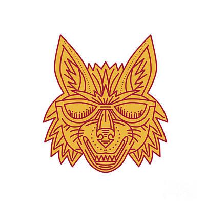 Canines Digital Art - Coyote Head Sunglasses Smiling Mono Line by Aloysius Patrimonio