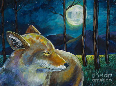 Coyote Art Painting - Coyote Moon by Harriet Peck Taylor