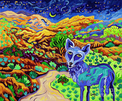 Painting - Coyote Sings His Song by Cathy Carey