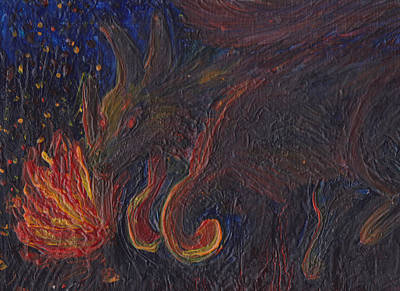 Abstract Coyote Painting - Coyote Steals Fire Detail by Jack Romero
