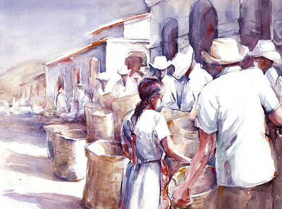 White Shirt Painting - Coyotepec by Joan  Jones