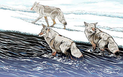 Wall Art - Digital Art - Coyotes At The Confluence Redux by Pam Little