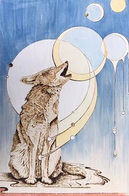 Mixed Media - Coyote's Song by Kristen Holmberg