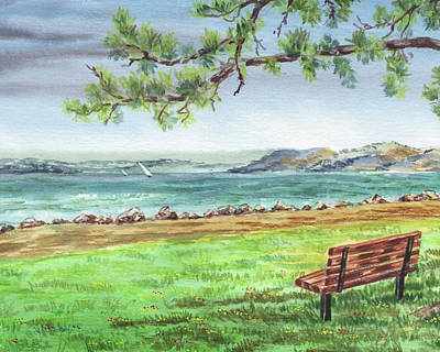 Royalty-Free and Rights-Managed Images - Cozy Bench Under The Tree Watercolour Landscape by Irina Sztukowski