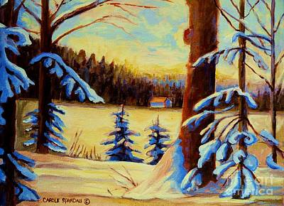 Cozy Cabin In The Woods Print by Carole Spandau