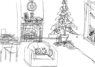 Matthew Joseph Williams Drawing - Cozy Christmas by Artists With Autism Inc