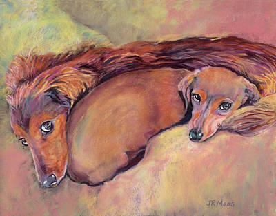 Painting - Cozy Dachshunds by Julie Maas