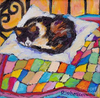 Painting - Cozy Kitty On A Quilt By Peggy Johnson by Peggy Johnson