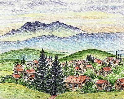 Sports Paintings - Cozy Little Village In The Mountains by Irina Sztukowski