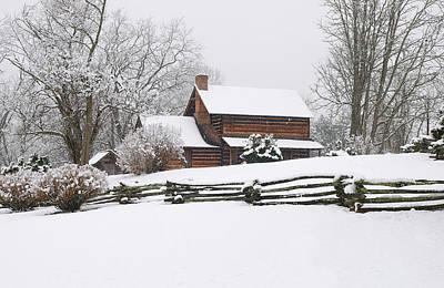 Cozy Snow Cabin Art Print by J K York