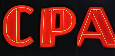 Cpas Wall Art - Photograph - Cpa - Certified Public Accountant - Neon Letter Art by WHBPhotography Wallace Breedlove