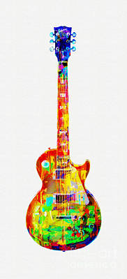 Mixed Media - Cplorful Gibson Les Paul by Olga Hamilton
